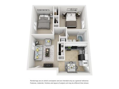 Floor Plan for two bedroom apartment in Richmond Va