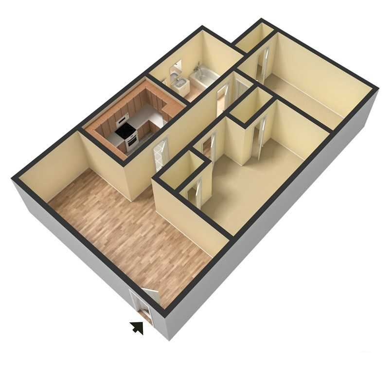 3D Two Bedroom One Bath Floor Plan Rendering at Douglas Square Apartments