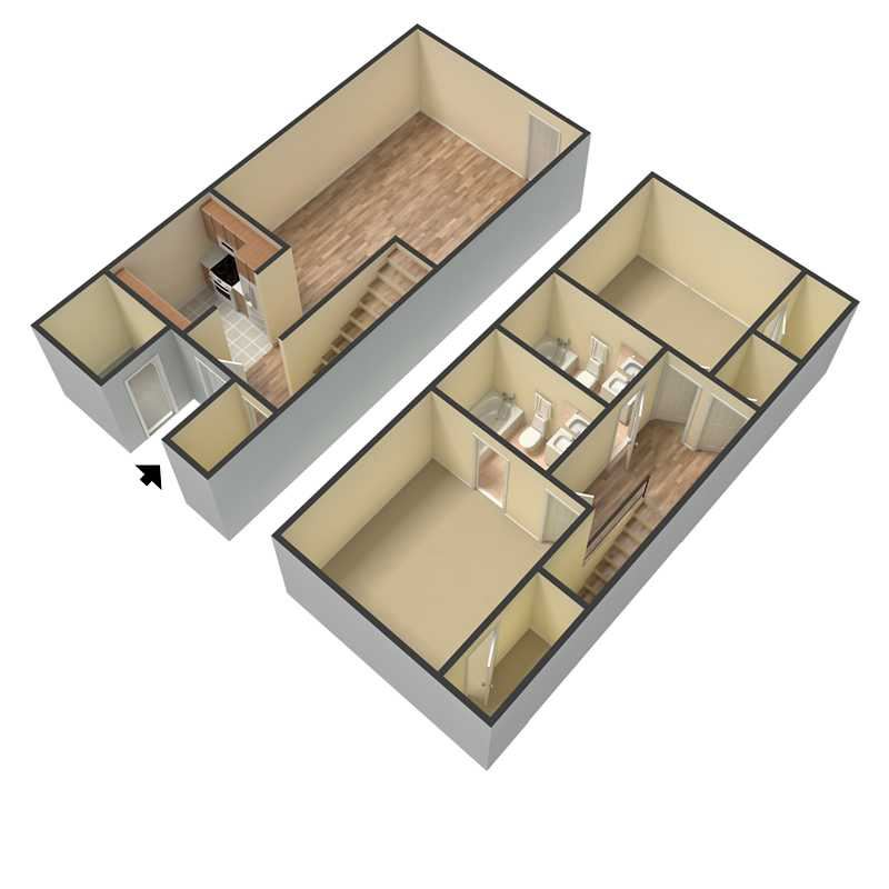 3D Two Bedroom Two Bath Townhome Floor Plan Rendering at Douglas Square Apartments