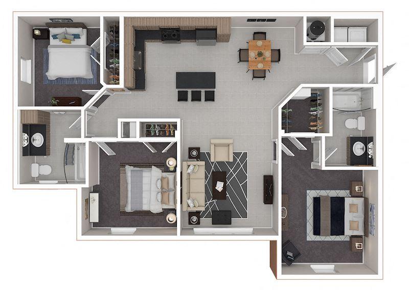 three bedroom two bath apartment
