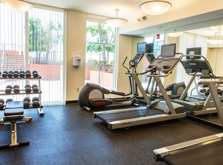 cardio and weight machines at fitness center