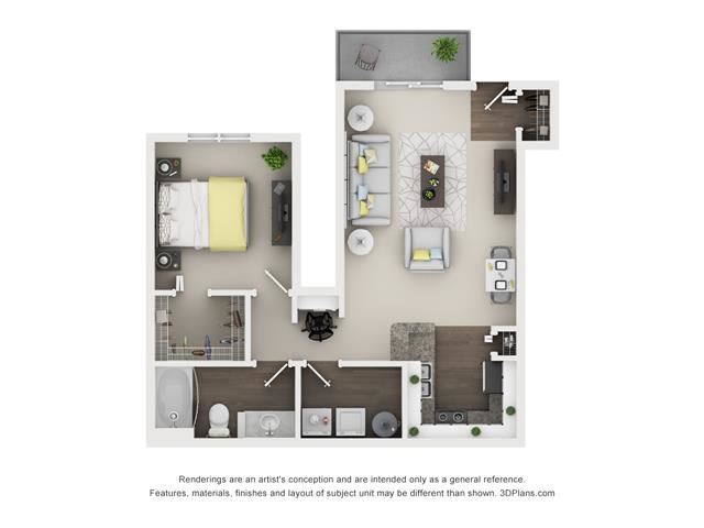 1 Bed 1 Bath- Maple Floor Plan at The Villages at Canterfield, West Dundee, 60118