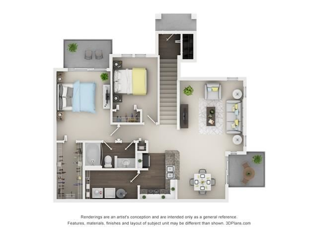 2 Bed 1 Bath - Holly Floor Plan at The Villages at Canterfield, West Dundee