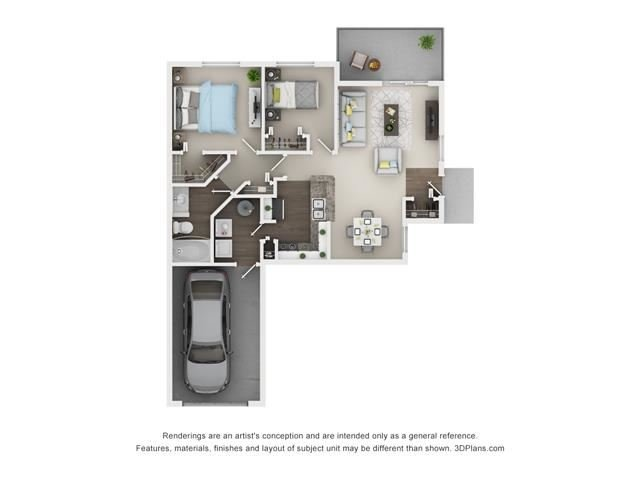 2 Bed 1 Bath- Laurel Floor Plan at The Villages at Canterfield, West Dundee, Illinois
