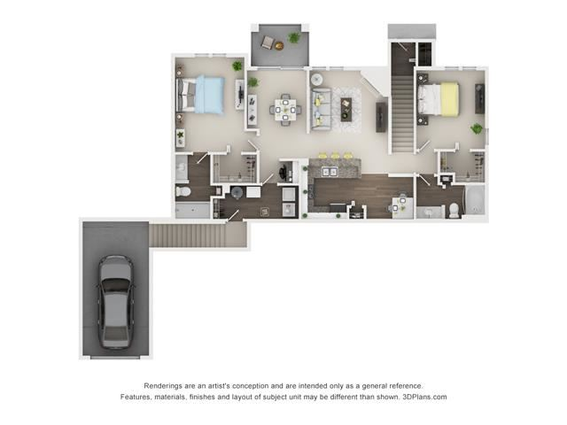 2 Bed 2 Bath Floor Plan at The Villages at Canterfield, West Dundee, IL, 60118