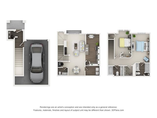 2 Bed 2.5 Bath - Riverbirch - Splitlevel Floor Plan at The Villages at Canterfield, West Dundee, 60118