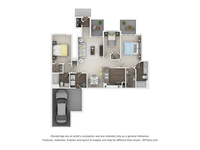 3 Bed 2 Bath - Hawthorne Floor Plan at The Villages at Canterfield, West Dundee
