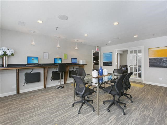 Resident Business Center With Computer And Printer at Hunter's Glen, Aurora, IL, 60504