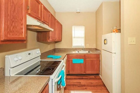 Kitchen Equipped with Electric Stove and Refrigerator