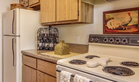White appliance package and light cabinets are available in select units| Southeast Apartments For Rent | Southpoint Apartments