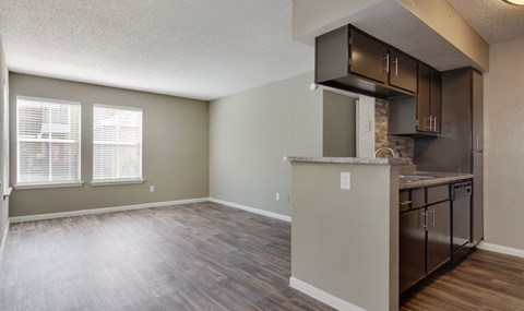 Gorgeous laminate flooring and upgraded kitchens are available in select units| Southeast Apartments For Rent | Southpoint Apartments