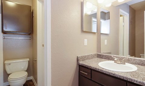 Upgraded Bathrooms with Dark Cabinets are available in select units| Southeast Apartments For Rent | Southpoint Apartments