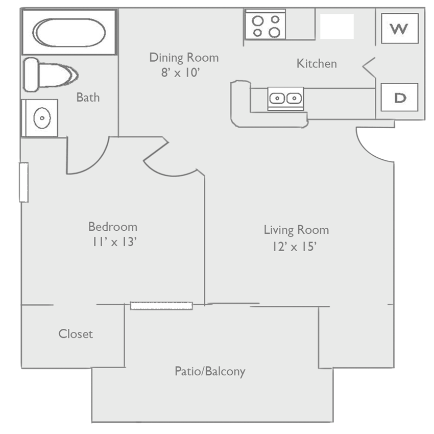 A1A One Bed One Bath Floor Plan at Piedmont at Ivy Meadow, Charlotte
