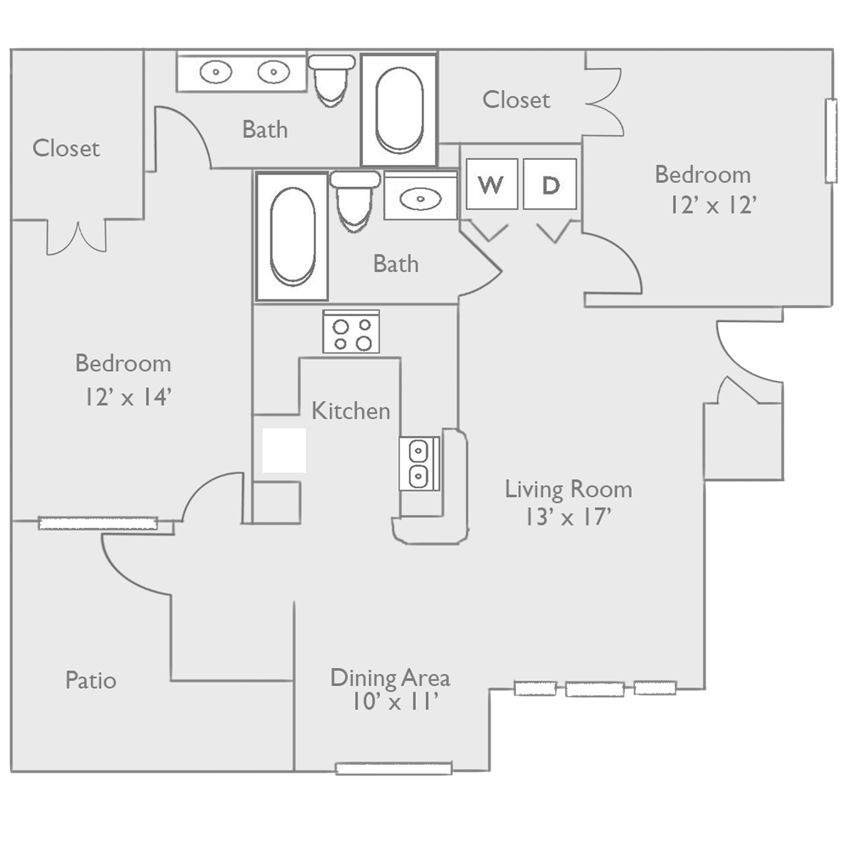 B2C Two Bed Two Bath Floor Plan at Piedmont at Ivy Meadow, Charlotte, NC