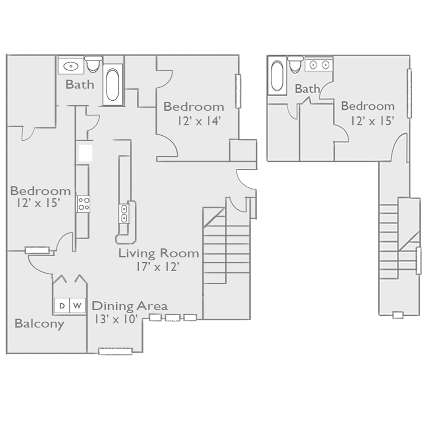 C2A Three Bed Two Bath Floor Plan at Piedmont at Ivy Meadow, Charlotte