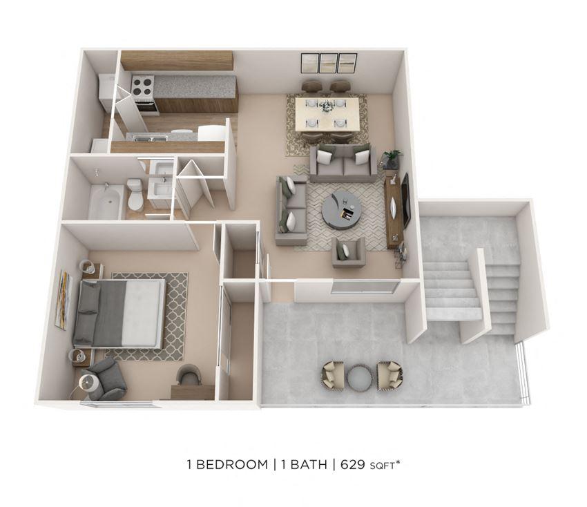 1 Bedroom, 1 Bath 629 sq. ft.