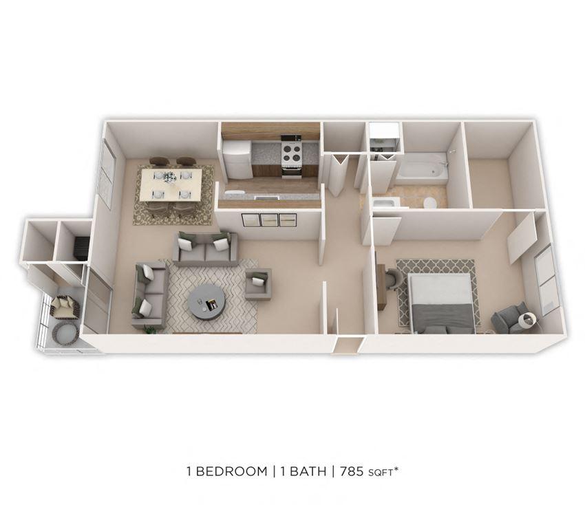1 Bedroom, 1 Bath 785 sq. ft.