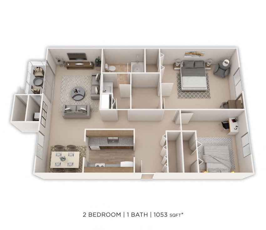 2 Bedroom, 1 Bath 1,053 sq. ft.