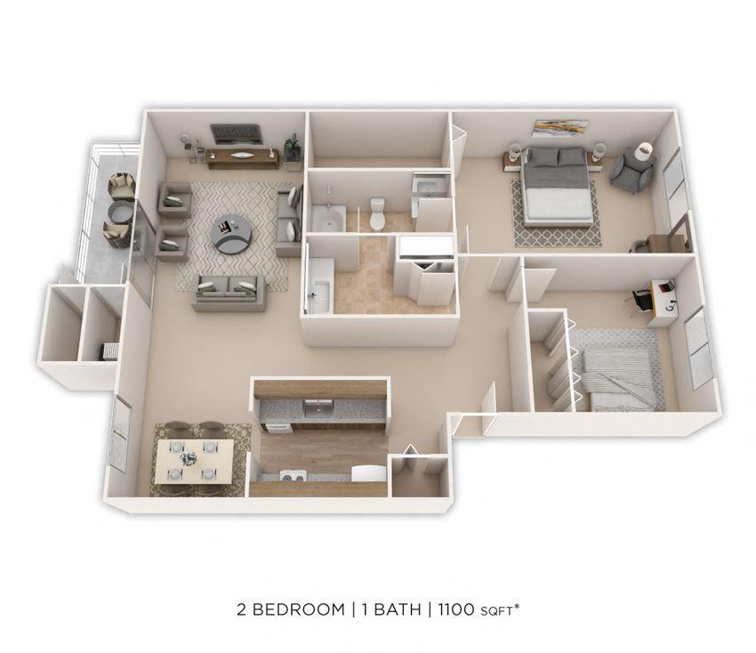 2 Bedroom, 1 Bath 1,100 sq. ft.