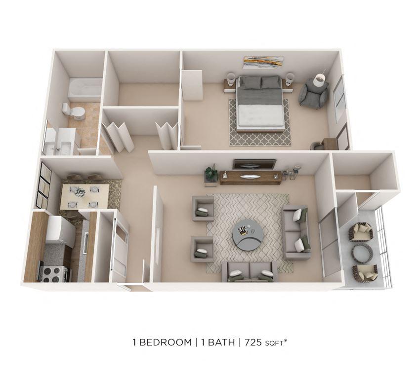 1 Bedroom, 1 Bath 725 sq. ft.