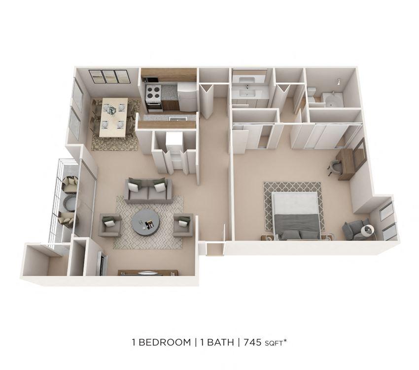 1 Bedroom, 1 Bath 745 sq. ft.