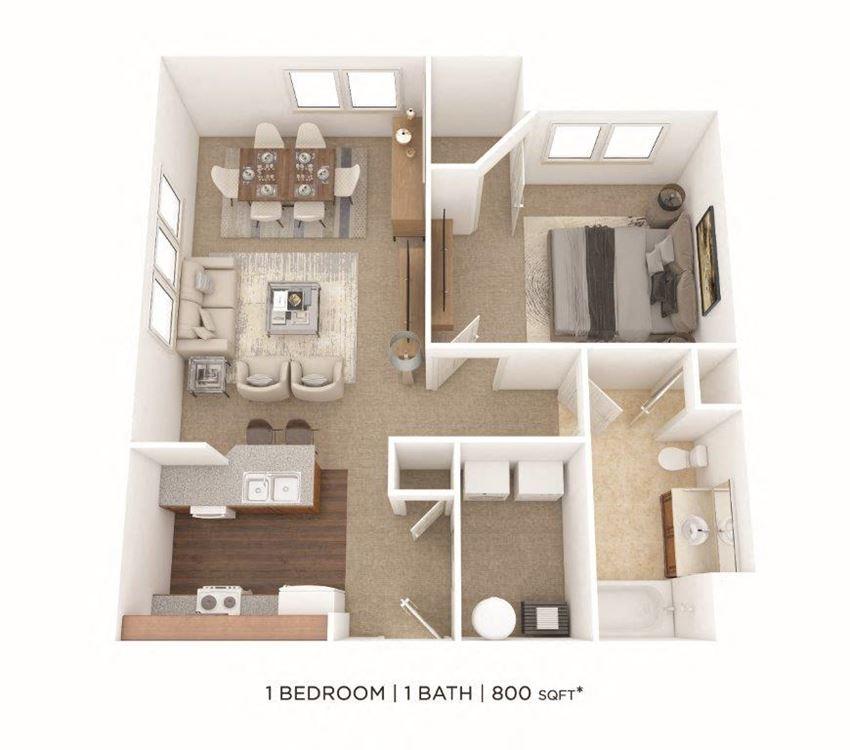 1 Bedroom, 1 Bath 800 sq. ft.