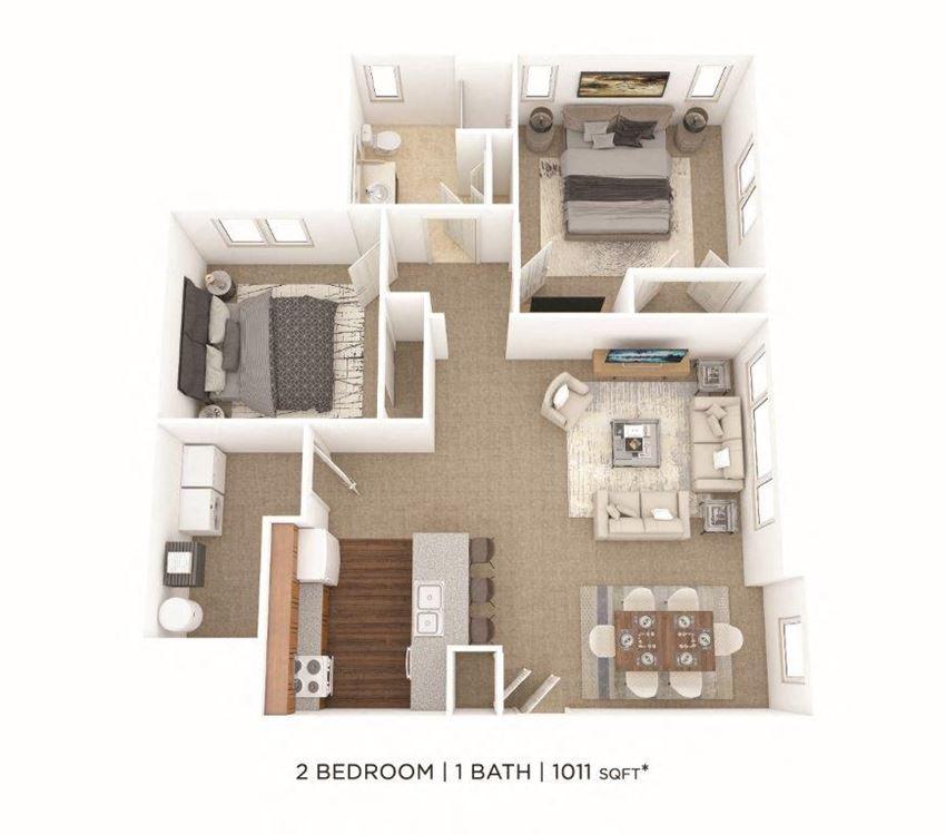 2 Bedroom, 1 Bath 1,011 sq. ft.