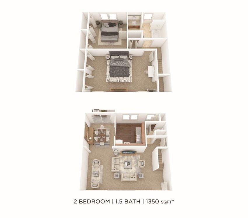 2 Bedroom, 1.5 Bath Townhome 1,350 sq. ft.