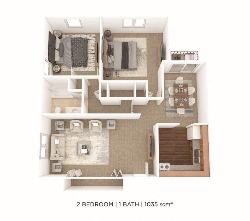 2 Bedroom, 1 Bath 1,035 sq. ft.