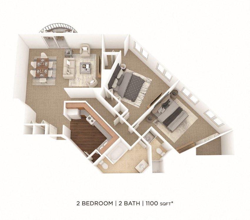 2 Bedroom, 2 Bath 1,100 sq. ft.