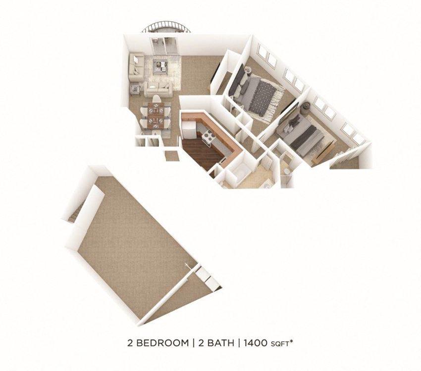 2 Bedroom, 2 Bath 1,400 sq. ft.
