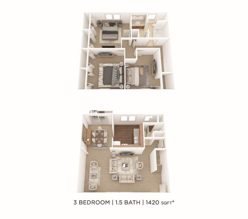 3 Bedroom, 1.5 Bath Townhome 1,420 sq. ft.