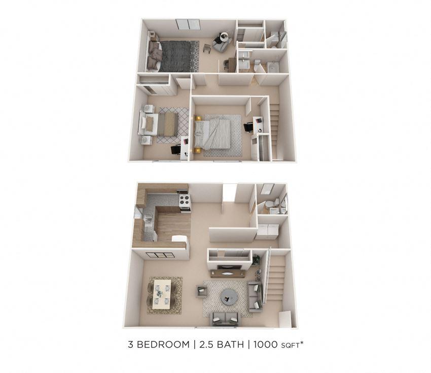 3 Bedroom 1 Full & 2 Half Bath Townhome