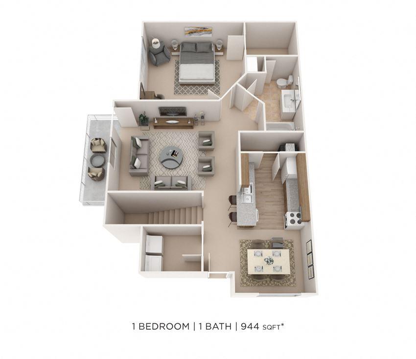 1 Bedroom, 1 Bath 944 sq. ft.