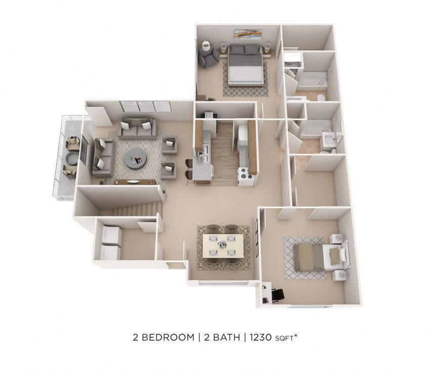 2 Bedroom, 2 Bath 1,230 sq. ft.