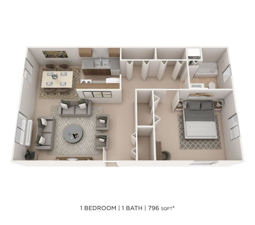 1 Bedroom, 1 Bath 796 sq. ft.