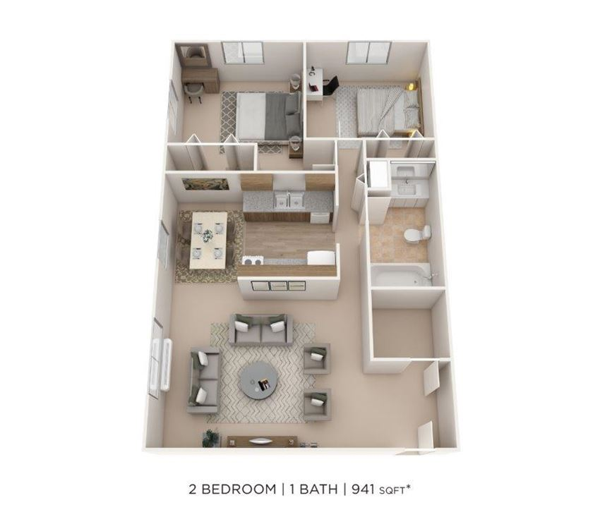 2 Bedroom, 1 Bath 941 sq. ft.