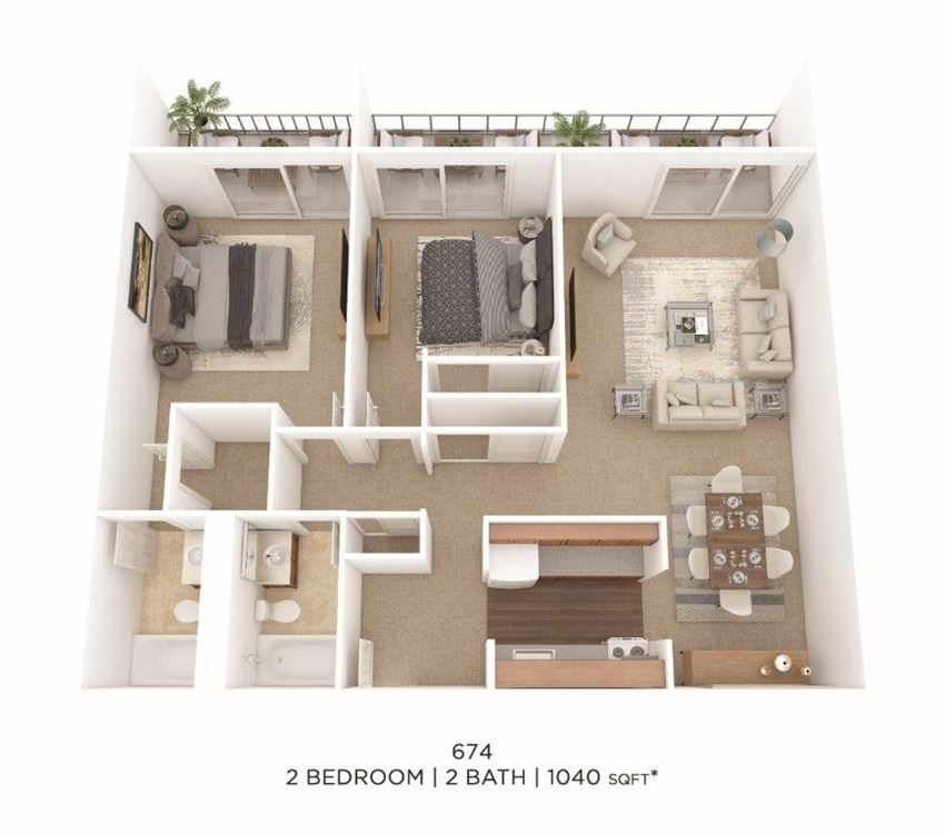 2 Bedroom, 2 Bath.