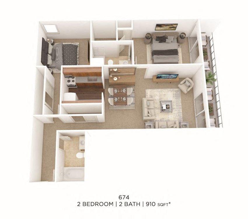 2 Bedroom, 2 Bath