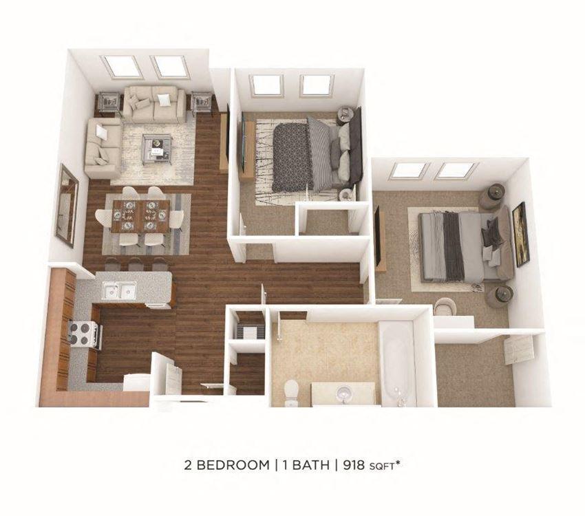 2 Bedroom, 1 Bath 918 sq. ft.