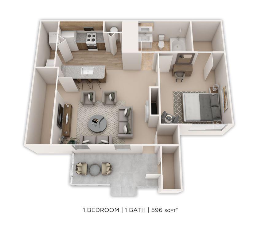 1 Bedroom, 1 Bath 596 sq. ft.