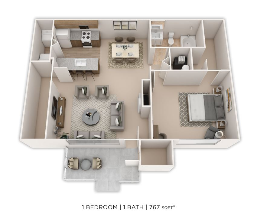 1 Bedroom, 1 Bath 767 sq. ft.