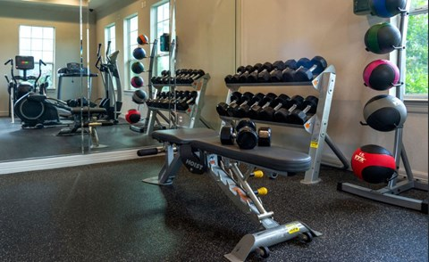 Free Weights and Medicine Balls in Fitness Center | Houston Apartments For Rent | Cambria Cove