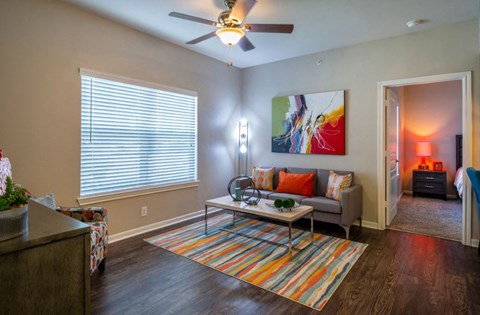 Renovated Living Room with Laminate Flooring | Houston Apartments For Rent | Cambria Cove