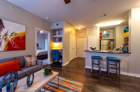 Renovated Living Room and Kitchen | Houston Apartments For Rent | Cambria Cove