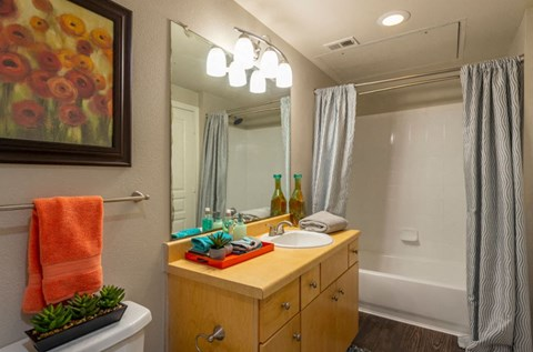 Combination shower/tub in each unit | Houston Apartments For Rent | Cambria Cove