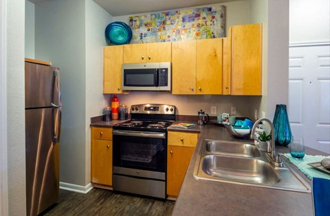Renovated Kitchens with stainless steel appliances | Houston Apartments For Rent | Cambria Cove