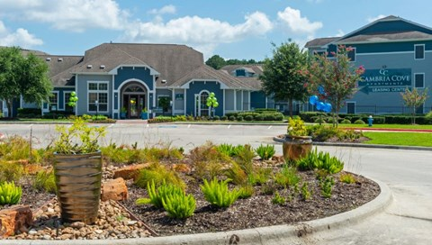 Main Entrance to Cambria Cove | Future Resident Parking | Houston Apartments For Rent | Cambria Cove