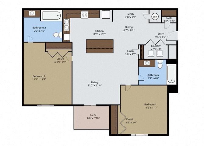 Aspen 2 Bedroom 2 Bath Floor Plan at Pinyon Pointe, Loveland, Colorado