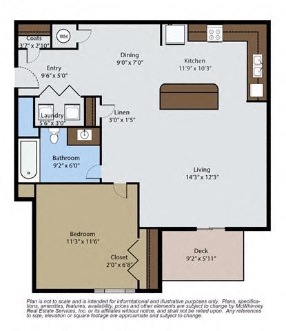 Spruce 1 Bedroom 1 Bath Floor Plan at Pinyon Pointe, Loveland, 80537